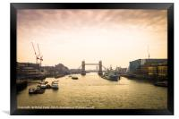 Tower Bridge in London at dusk, Framed Print