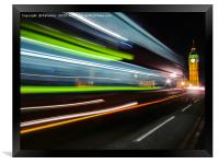 Light streaks on Westminster Bridge, Framed Print