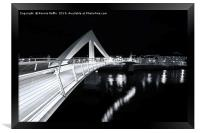Squiggly Bridge At Night, Framed Print
