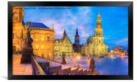 The old city of Dresden at dusk germany, Framed Print