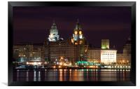 Liverpool Pierhead at Night, Framed Print