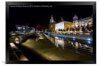 Liverpool Waterfront at Night , Framed Print