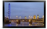 View along the Thames towards Big Ben and the Lond, Framed Print