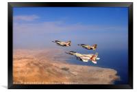 2 F-16 and one F-15 IAF fighter jets, Framed Print