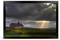 Barn and sunbeams, Framed Print