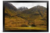 Glencoe Cottage in the Mountains, Framed Print