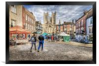 Lincoln Market and Cathedral, Framed Print