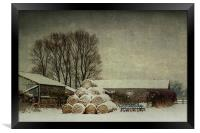 Hay bales in the snow, Framed Print