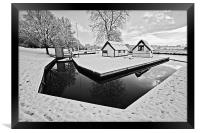 Coltishall Boat Houses in Winter B&W, Framed Print