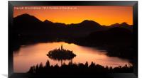 Lake Bled from Ojstrica at sunrise, Framed Print
