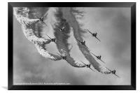 Red Arrows Black and White, Framed Print