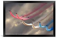Red Arrows smoke trails, Framed Print
