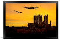 Lancasters over Lincoln, Framed Print
