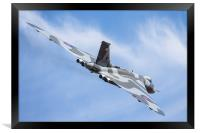 Vulcan and wispy clouds at Duxford, Framed Print