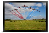 Red Arrows running in at Brize, Framed Print