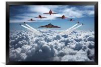Vulcan and Red Arrows farewell flight, Framed Print