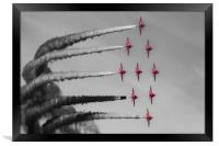 Red Arrows selective colour, Framed Print