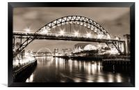 The Bright Lights of Newcastle Upon Tyne, Framed Print