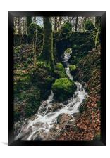 Stone bridge over waterfall near Stockghyll Force., Framed Print