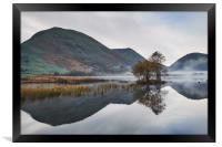 Reflections and fog at sunrise. Brothers Water, Cu, Framed Print