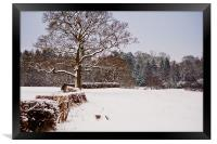 Snow covered Kent countryside, Framed Print