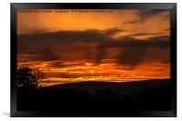 Dalescapes: Gunnerside Sunset and Silhouettes., Framed Print