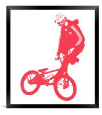 BMX Red on White, Framed Print