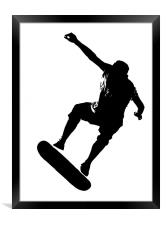 Skateboarder on White, Framed Print