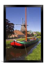 Ship and Windmill, Framed Print