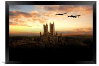 Lancs over Lincoln , Framed Print