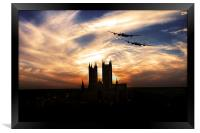 Lancs Over The Cathedral , Framed Print