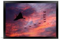 Vulcan XH558 and Red Arrows, Framed Print