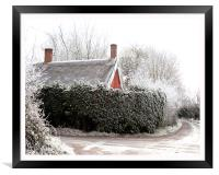 Thatched cottage after a heavy frost, Framed Print