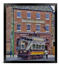 At The Tram Stop, Framed Print