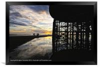 Silhouettes At The Pier, Framed Print