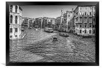 North from the Rialto Bridge - B&W, Framed Print
