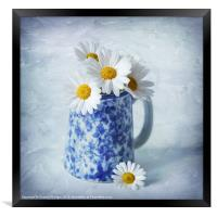 Daisies in a blue Jug, Framed Print
