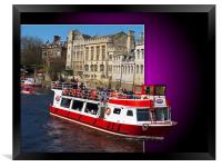 York Boat out of bounds on the river Ouse,York., Framed Print