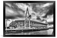 Principality Stadium North View Monochrome, Framed Print
