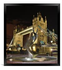 Tower Bridge and Girl with a Dolphin Fountain., Framed Print