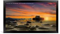 Sunset over St Cwyfan's Church, Anglesey., Framed Print