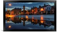 Thirsk Market Place after an Evening Downpour , Framed Print