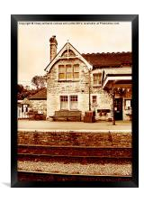 The Station At Corfe In Sepia , Framed Print