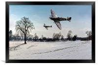 Boys will be boys: low-flying Spitfires, Framed Print