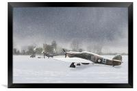 Hurricanes in the snow with church, Framed Print