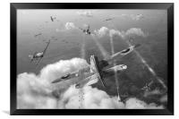 Headlong attack black and white version, Framed Print