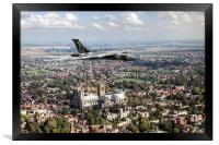 Avro Vulcan passing Lincoln Cathedral, Framed Print