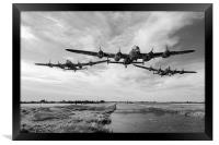 Dambusters practising low level flying B&W version, Framed Print