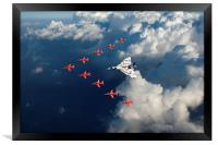 Red Arrows and Vulcan above clouds, Framed Print