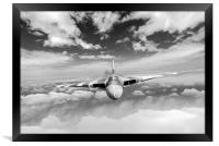 Cold War warrior climbing to mission altitude B&W , Framed Print